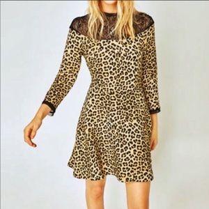 Zara woman animal print flowy skater dress